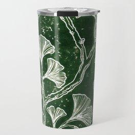 Emerald Green Ginkgo Lino Print Travel Mug