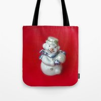 snowman Tote Bags featuring Snowman  by Svetlana Korneliuk