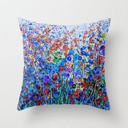 Absract Flowerscape Painting Throw Pillow