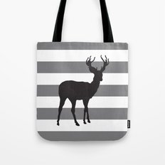 Deer in Black on Grey and White Stripes Tote Bag