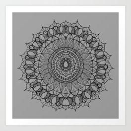 Bohemian Mandala on Gray Art Print