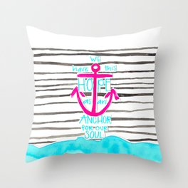 We Have This HOPE - Anchor (pink/blue) Throw Pillow