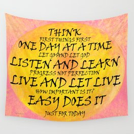 Recovery Slogans Yellow Pink Wall Tapestry