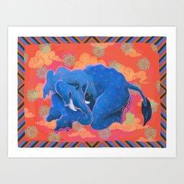 Colourful Animal Elephant Decoration Patterns Art Print