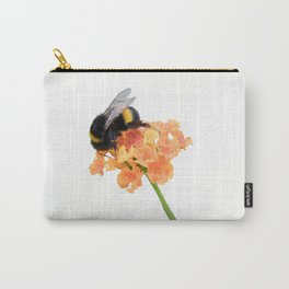 bumblebee on wildflower on white background Carry-All Pouch