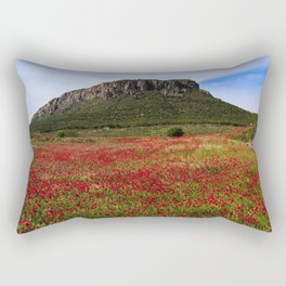 Red Poppy Fields Amid the Black Hills Rectangular Pillow