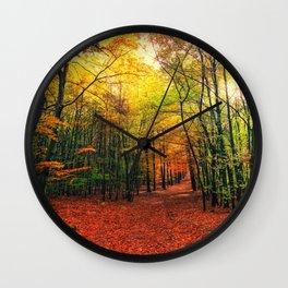 Serene Autumn Forest landscape Wall Clock
