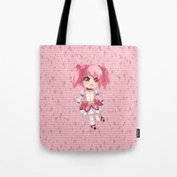 madoka Tote Bags featuring Madoka Kaname by Nozubozu