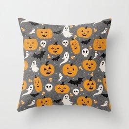 Pumpkin Party in Gray Throw Pillow