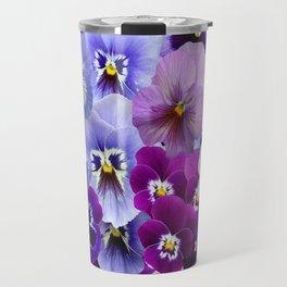 VARIEGATED PURPLE PANSY FLOWERS ART Travel Mug