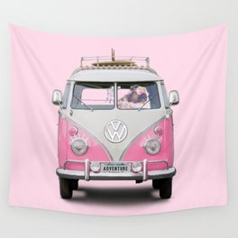 Pug Girly Adventure Wall Tapestry