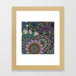 Colorful Floral Mandala Pattern with Geometric Drawings Framed Art Print