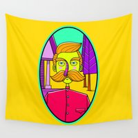 moustache Wall Tapestries featuring Mister Moustache by KREASIMALAM