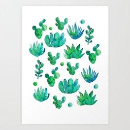 Watercolor Succulents Art Print