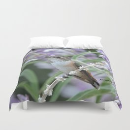 Ms. Hummingbird's Break Time in Mexican Sage Duvet Cover