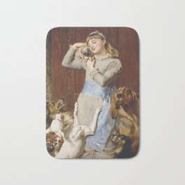 Briton Riviere - Girl With Dogs Bath Mat