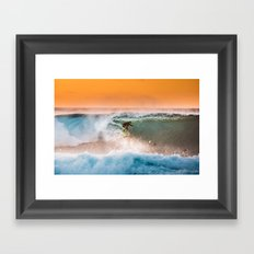 Sunset surfing in Hawaii Framed Art Print