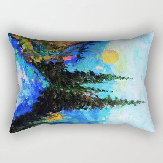 Mountain Blues Painting Rectangular Pillow