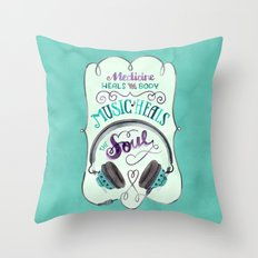 Music Heals the Soul Throw Pillow