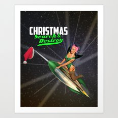 Christmas Pin-Up - Search & Destroy Rocket Art Print