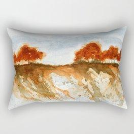 Firebranch Ridge, Watercolor Abstract Landscape Art Rectangular Pillow