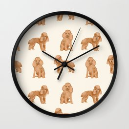 Toy Poodle apricot coat dog breed pet portrait dog breeds poodles Wall Clock