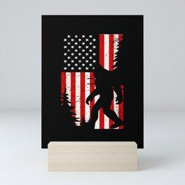 Bigfoot American Flag Forest Sasquatch Fan Mini Art Print