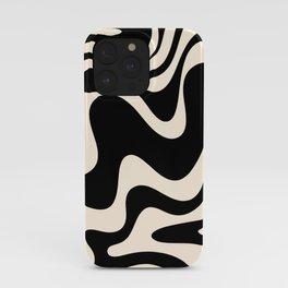Retro Liquid Swirl Abstract in Black and Almond Cream 2 iPhone Case