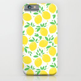 Bright and yellow lemons seamless pattern iPhone Case