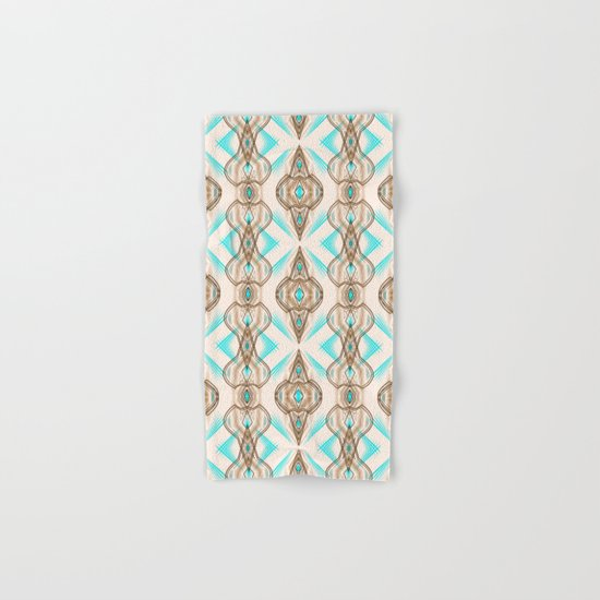 Art Deco . Turquoise brown white . Hand & Bath Towel