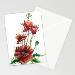 Cut Oriental Poppies Watercolor Painting Stationery Cards