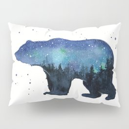 Forest Bear Silhouette Watercolor Galaxy Pillow Sham