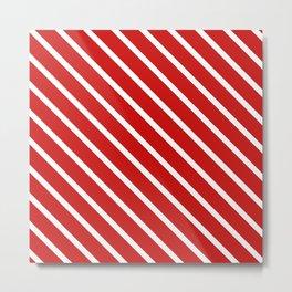 Valentines Red Diagonal Stripes Metal Print