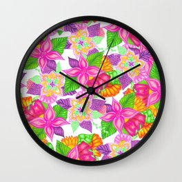 Colorful neon pink green floral handdrawn pattern Wall Clock