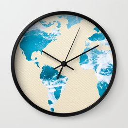 Ocean World Map Sea and Sand Wall Clock
