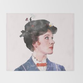 Mary Poppins - Watercolor Throw Blanket
