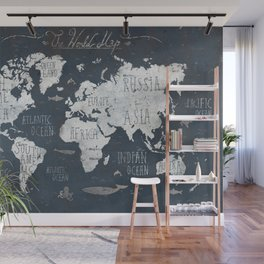 World Map / Rusty Wall Mural