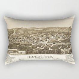 Aerial View of Hurley, Wisconsin (1886) Rectangular Pillow