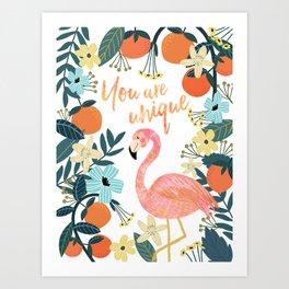 You are unique pink flamingo Art Print