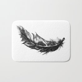 Feather- B&W // Illustration Bath Mat