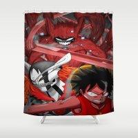 luffy Shower Curtains featuring Shonen jump's best! by fangterry