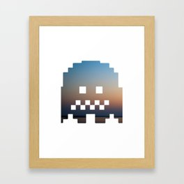 Pacman robot with clouds Framed Art Print