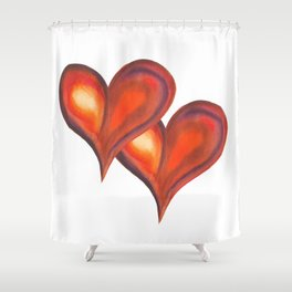 Two watercolor hearts, isolated on white background Shower Curtain