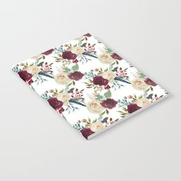 Burgundy ivory green watercolor boho floral pattern Notebook
