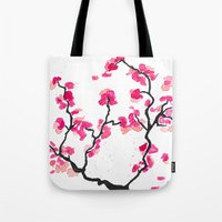 cherry blossoms Tote Bags featuring Cherry Blossoms by Amaya
