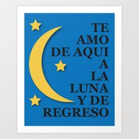 I Love You to the Moon and Back (Espanol)  Art Print