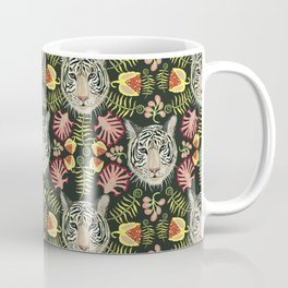 White Tiger Pattern / Black Background Coffee Mug