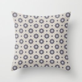 Som do Mar Geometric Portuguese Azulejo Tile Pattern Throw Pillow