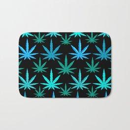 Marijuana Teal Turquoise Weed Bath Mat
