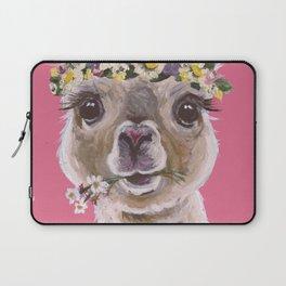 Alpaca Art, Alpaca Flower Crown Laptop Sleeve